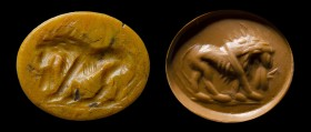 A roman yellow jasper intaglio. Lion. 