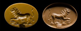 A roman astrological yellow jasper intaglio. Lion. 