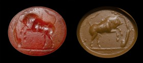 A roman carnelian intaglio. Bull.