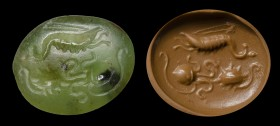 A roman green chalcedony intaglio. Marine scene.