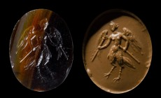 A rare roman banded agate intaglio. Siren. 