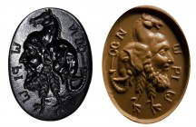 A roman black onyx intaglio. Gryllos and greek inscriptions.