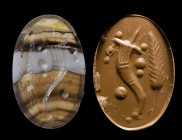 A roman italic banded agate intaglio. Allegorical emblema. 