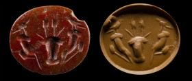 A roman red jasper intaglio. Allegorical emblema.