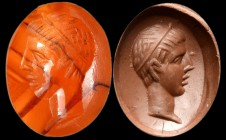 A roman agate intaglio. Head of a young man. 