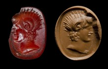 A roman carnelian intaglio. Bust of Alexander the Great - Ammon.
