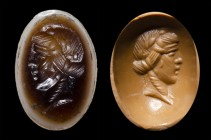 A roman two-layers agate. Head of Bacchus. 