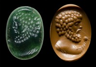 A rare roman green chalcedony intaglio. Bust of a bearded man.