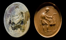 An italic burnt agate intaglio. Wheat harvest.