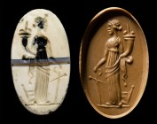 A roman republican banded burnt agate intaglio. Tyche.