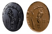 A large roman italic black-onyx intaglio. The punishment of Marsyas.