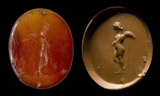 A roman italic carnelian intaglio. Winged Eros.
