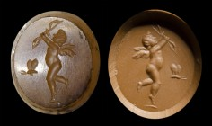 A roman agate intaglio. Eros and Pysche. 
