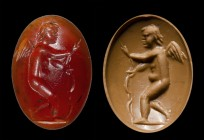 A roman carnelian intaglio. Eros with a bow.