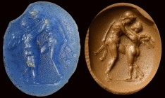 A roman blue glass intaglio. Two figures. 