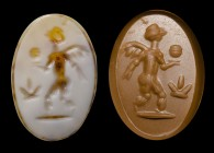 A roman two-layers agate intaglio. Winged Eros with a globe. 