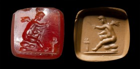 A roman carnelian squared intaglio. Eros. 