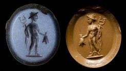 A roman nicolo intaglio. Mercury. 