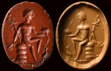 A roman red jasper intaglio. Mercury with attributes. 