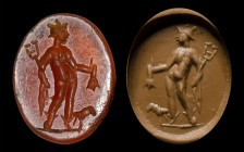 A roman carnelian intaglio. Mercury and ram.