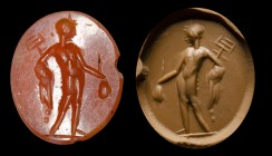 A roman carnelian intaglio. Mercury.