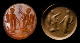 A roman agate intaglio. Tyche and Victory. 