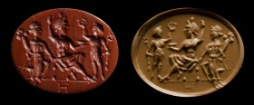 A roman red jasper intaglio. Fortuna, Serapis and Mercury.