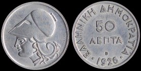 "GREECE: 50 Lepta (1926 B) in copper-nickel with ""ΕΛΛΗΝΙΚΗ ΔΗΜΟΚΡΑΤΙΑ"". Cleaned or polished. (Hellas 172). Almost Uncirculated."