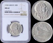 "GREECE: 20 Drachmas (1930) in silver (0,500) with Poseidon. Inside slab by NGC ""MS 62"". (Hellas 179)."