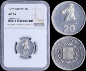 "GREECE: 20 Lepta (1978) in aluminium with horse. Inside slab by NGC ""MS 66"". (Hellas 255)."