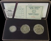 "GREECE: 100 Drachmas + 250 Drachmas + 500 Drachmas (1981) commemorative coin set in silver (0,900) for the ""XIII ΠΑΝΕΥΡΩΠΑΙΚΟΙ ΑΓΩΝΕΣ ΣΤΙΒΟΥ ΑΘΗΝΑ 198..."