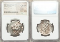 DANUBE REGION. Balkan Tribes. After 146 BC. AR tetradrachm (30mm, 1h). NGC Choice VF. Issue imitating Thracian Islands, Thasos. Celticized head of you...