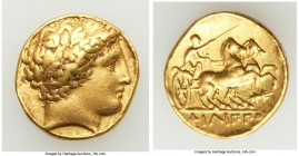 MACEDONIAN KINGDOM. Philip II (359-336 BC). AV stater (18mm, 8.53 gm, 10h). VF, ex-jewelry. Lifetime or early posthumous issue of Pella, 340-328 BC. L...