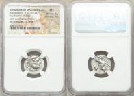 MACEDONIAN KINGDOM. Alexander III the Great (336-323 BC). AR drachm (19mm, 4.20 gm, 10h). NGC MS 4/5 - 4/5. Posthumous issue of Abydus, ca. 310-301 BC...