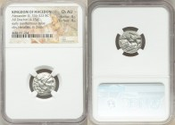MACEDONIAN KINGDOM. Alexander III the Great (336-323 BC). AR drachm (16mm, 4.25 gm, 8h). NGC Choice AU 4/5 - 4/5. Posthumous issue of Lampsacus, ca. 3...