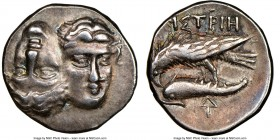 MOESIA. Istrus. 4th century BC. AR drachm (17mm, 3h). NGC XF. Two male heads facing, the left inverted / IΣTPIH, sea eagle atop dolphin left; ΔI monog...