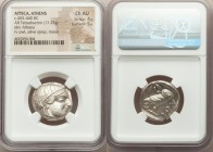 ATTICA. Athens. Ca. 455-440 BC. AR tetradrachm (23mm, 17.22 gm, 1h). NGC Choice AU 4/5 - 5/5. Early transitional issue. Head of Athena right, wearing ...