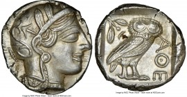 ATTICA. Athens. Ca. 440-404 BC. AR tetradrachm (24mm, 17.21 gm, 3h). NGC MS 5/5 - 4/5, brushed. Mid-mass coinage issue. Head of Athena right, wearing ...