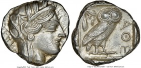 ATTICA. Athens. Ca. 440-404 BC. AR tetradrachm (23mm, 17.21 gm, 7h). NGC Choice AU 4/5 - 4/5. Mid-mass coinage issue. Head of Athena right, wearing cr...