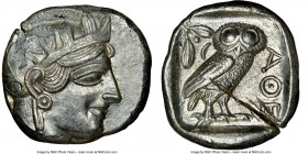 ATTICA. Athens. Ca. 440-404 BC. AR tetradrachm (23mm, 17.19 gm, 9h). NGC Choice AU 4/5 - 2/5, test cuts. Mid-mass coinage issue. Head of Athena right,...