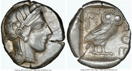 ATTICA. Athens. Ca. 440-404 BC. AR tetradrachm (25mm, 17.18 gm, 2h). NGC Choice XF 4/5 - 5/5. Mid-mass coinage issue. Head of Athena right, wearing cr...