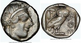 ATTICA. Athens. Ca. 440-404 BC. AR tetradrachm (24mm, 17.19 gm, 10h). NGC Choice XF 4/5 - 4/5. Mid-mass coinage issue. Head of Athena right, wearing c...