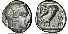 ATTICA. Athens. Ca. 440-404 BC. AR tetradrachm (24mm, 17.19 gm, 8h). NGC XF 4/5 - 4/5. Mid-mass coinage issue. Head of Athena right, wearing crested A...