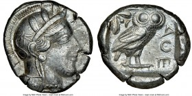 ATTICA. Athens. Ca. 440-404 BC. AR tetradrachm (25mm, 17.10 gm, 3h). NGC XF 5/5 - 3/5. Mid-mass coinage issue. Head of Athena right, wearing crested A...