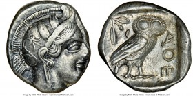 ATTICA. Athens. Ca. 440-404 BC. AR tetradrachm (25mm, 17.17 gm, 3h). NGC XF 3/5 - 4/5. Mid-mass coinage issue. Head of Athena right, wearing crested A...