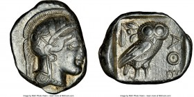 ATTICA. Athens. Ca. 440-404 BC. AR tetradrachm (26mm, 17.19 gm, 4h). NGC XF 2/5 - 4/5. Mid-mass coinage issue. Head of Athena right, wearing crested A...