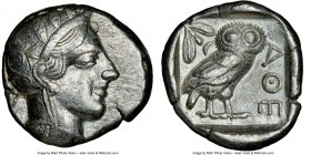 ATTICA. Athens. Ca. 440-404 BC. AR tetradrachm (24mm, 17.18 gm, 4h). NGC VF 5/5 - 4/5. Mid-mass coinage issue. Head of Athena right, wearing crested A...