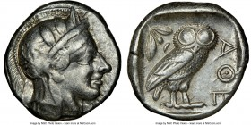 ATTICA. Athens. Ca. 440-404 BC. AR tetradrachm (24mm, 17.17 gm, 10h). NGC VF 4/5 - 5/5. Mid-mass coinage issue. Head of Athena right, wearing crested ...