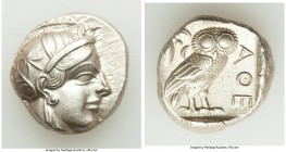 ATTICA. Athens. Ca. 440-404 BC. AR tetradrachm (24mm, 17.18 gm, 4h). Choice AU. Mid-mass coinage issue. Head of Athena right, wearing crested Attic he...