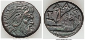 CIMMERIAN BOSPORUS. Panticapaeum. 4th century BC. AE (21mm, 7.50 gm, 12h). VF. Head of bearded Pan right / Π-A-N, forepart of griffin left, sturgeon l...